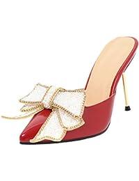 Damen Lack Pantoletten mit Perlen Kleiner Absatz Pumps High Heels Mules Aiyoumei 2O05G