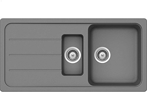Schock Formhaus D-150 L Croma Granit-Spüle Küchenspüle Grau Einbau Spüle Auflage