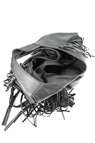 Belli bellissima ® «b» étui sac à shopping en cuir nappa à franges couleur 34 x 23 x 17 cm (l x h x p) Noir - Noir