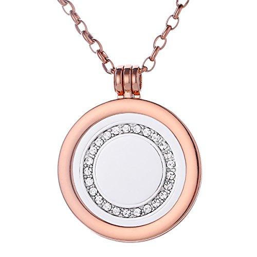 Morella Mujeres Collar 70 cm Acero Inoxidable de Oro Rosa y Colgante Amuleto Coin 33 mm Anillo de Piedra Brillante de Color Plata para Damas en Bolsa para Joyas