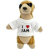 Suricata personalizada de peluche (juguete) con Amo Jam en la camiseta (nombre de