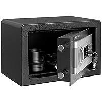 HAPFIY Caja Fuerte Convencionales de Seguridad, 8L Electrónica Caja de Seguridad con Alarma Incorporada Montaje en el Suelo Para Documento para Oficina en casa, 4 AA batterias+2 Llaves, 31x20x20cm