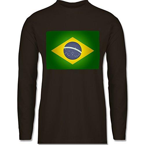 Shirtracer Länder - Flagge Brasilien - Herren Langarmshirt Braun