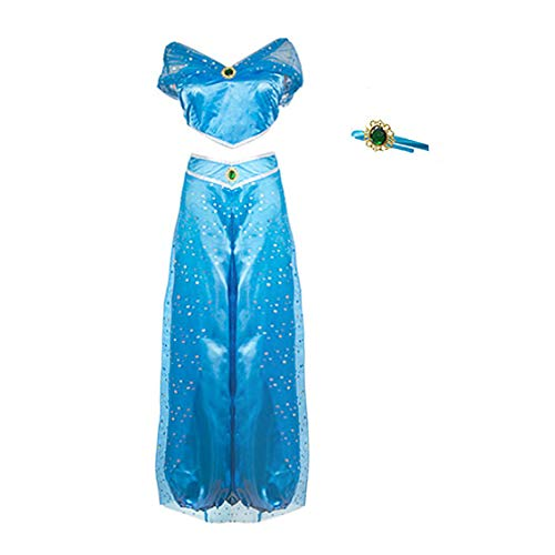 FeMereina Frauen Jasmin Prinzessin Cosplay Kostüme Bauchtanz Dress Up Anime Lampe Kostüme Party Abenteuer Outfit Dunkelblau (S, - Prinzessin Kostüm Cosplay