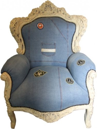 Casa Padrino Baroque Armchair King Jeans Style / Antique Cream - Limited Edition Model