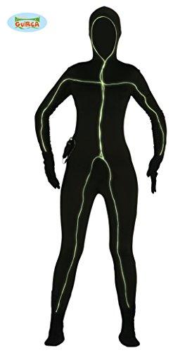 leuchtender Ganzkörperanzug Strichmännchen Kostüm für Damen Gr. M/L, Größe:L