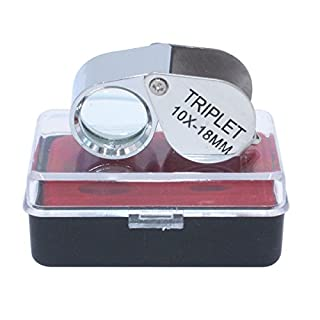 cnmade 10x 18mm Vergrößerung Juwelier Eye Lupe Metall Mini Silber Taschenlupe Lupe
