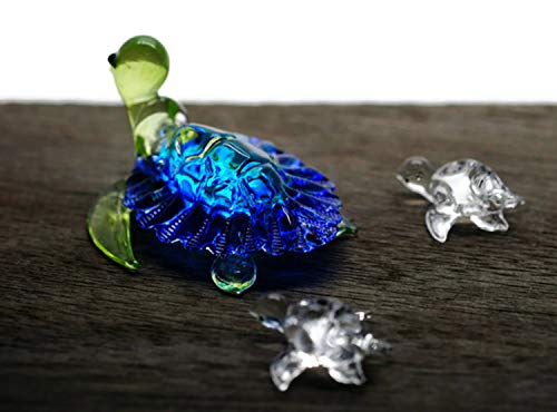 Art Glass Mini-anhänger (ChangThai Design 3 Stück Aquarium blau mit niedlicher Babyschildkröte Handschale Glas Puppenhaus Miniatur-Dekoration)
