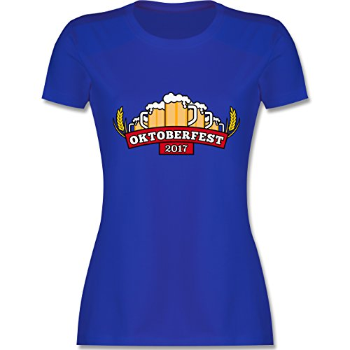 Oktoberfest Damen - Oktoberfest 2017 Krüge - tailliertes Premium T-Shirt mit Rundhalsausschnitt für Damen Royalblau
