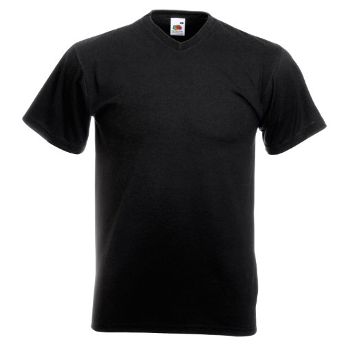 Fruit Of The Loom Valueweight T-shirt für Männer mit V-Ausschnitt, kurzärmlig Black