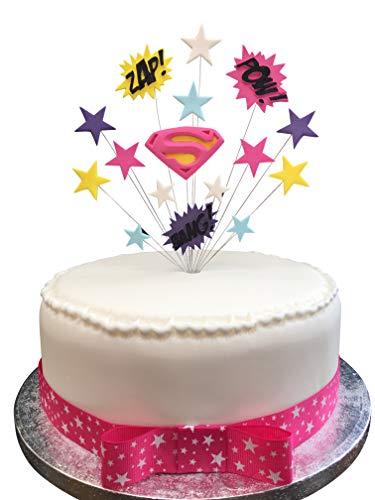 Kuchendekoration, Superheld-Thema: Super Girl, geeignet für 20cm Kuchen, inklusive 1 Meter Geschenkband mit Schleife, in Pink