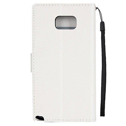 Klassische Premiu PU Ledertasche, Horizontale Flip Stand Case Cover mit Cash & Card Slots & Lanyard & Soft TPU Interio Rückseite für Samsung Galaxy Note 5 ( Color : Red ) White