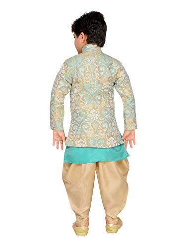 AJ Dezines Boys Indo Western Sherwani Set for Kids(652_GREEN_5)