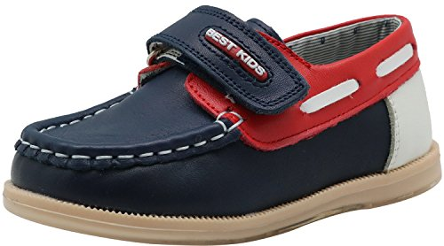 Shengjuanfeng Kinder Kleinkind Jungen Leder Casual Slipper Sneaker Schuhe (Color : Navy/Red, Size : 6 M US Toddler) 6m Schuhe
