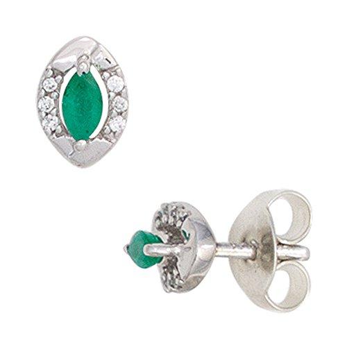 Orecchini con smeraldi shpitz vetro verde 12 brillanti 333 oro bianco donna