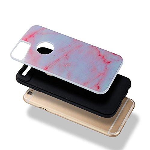 Custodia iPhone 6/6S, ISAKEN Cover per Apple iPhone 6 4.7 [TPU Shock-Absorption] - Marmo Modello Naturale Custodia Soft TPU Sottile Custodia Case Morbido Protettiva Bumper Caso, Marmo Viola Pink