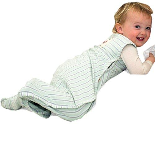Merino kids sacco nanna per bambini 2-4 anni, stampa di pecora impilata - striscia di cielo/striscia verde chiaro/grigio chiaro