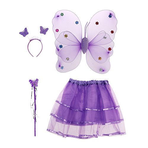 Tinksky 4pcs Winkel Mädchen Fee Kostüme mit Flügel Stirnband Stab Tutu Rock Set (Lila) (Lila Dress Up Set)