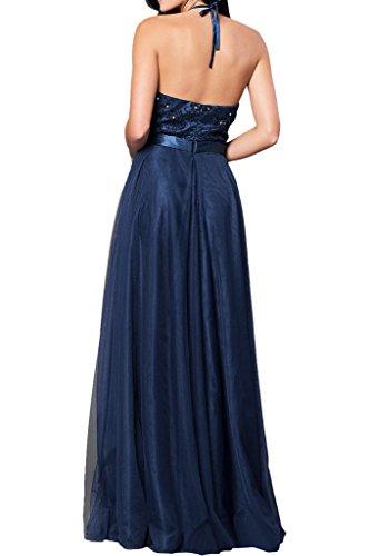 Victory Bridal Damen 2016 Neu elegant Abendkleider Promkleider Partykleider zweiteilig A-Linie Bodenlang Neckholder Spaghetti Guertel Rosa