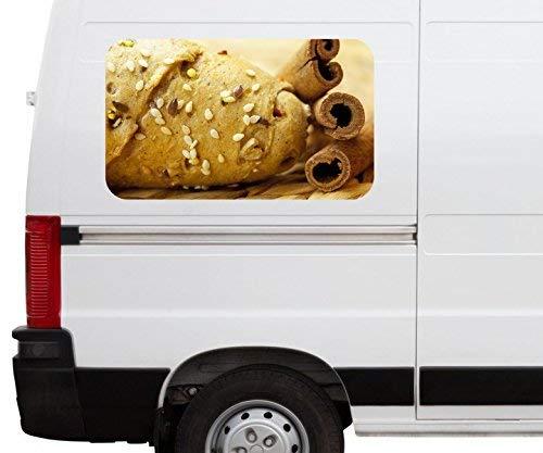 Autoaufkleber Brötchen mit Samen Zimt Küche Brot Car Wohnmobil Auto tuning Digital Druck Fenster Sticker LKW Bild Aufkleber 21B196, Größe 3D sticker:ca. 120cmx73cm