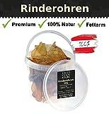 Haustier-Küche Premium getrocknete Rinderohren für Hunde | Natur Kauspezialität in Anti-Geruchs Eimer + Kräuterfibel für Hunde als E-Book (Rinderohren, 600g)
