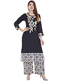 Palakh Women's Cotton Blue Straight Embroidered Kurti With Printed Palazzo