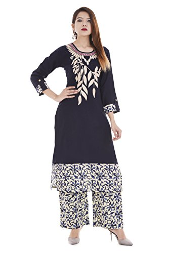 RAJMANDIRFABRICS Women's Cotton Embroidered Kurti with Printed Palazzo (PK1015567_Blue_Large)