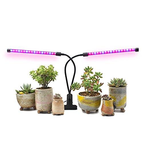amazingcats [2018Upgraded] 18W Dual Head Timing Grow Lampe, 36LED Chips mit Rot/Blau Spectrum für Zimmerpflanzen, verstellbarer Schwanenhals, 3/6/12H Timer, 5dimmbar Stufen
