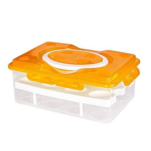 Lugii Cube œufs frais Gardant Boîte de rangement portable double couche 24Grid anticollision Orange
