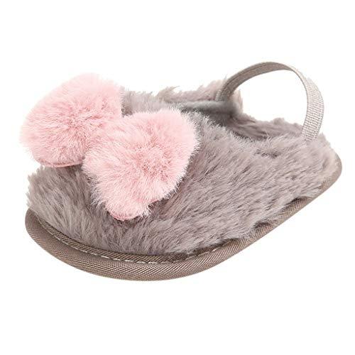 BoyYang Kinder Hallenschuhe, Winter Baumwolle Pantoffeln Plüsch Wärme Weiche Hausschuhe Kuschelige Home rutschfeste Slippers mit Cartoon für Baby Jungen Mädchen (12,Grau)