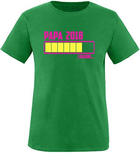 EZYshirt® Papa 2018 Herren Rundhals T-Shirt Grün/Pink/Gelb