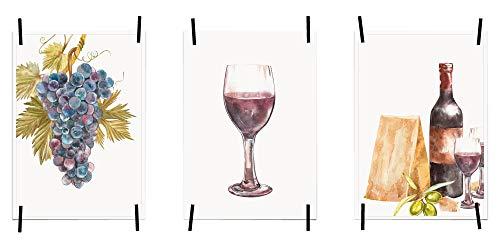 lder Poster Bilder für die Küche Küchenposter Kunstdrucke | Moderne Wanddeko Küche Deko | 3er Set Größe DIN A4 | Weintrauben dunkel, Weinglas, Wein, Käse, Oliven ()