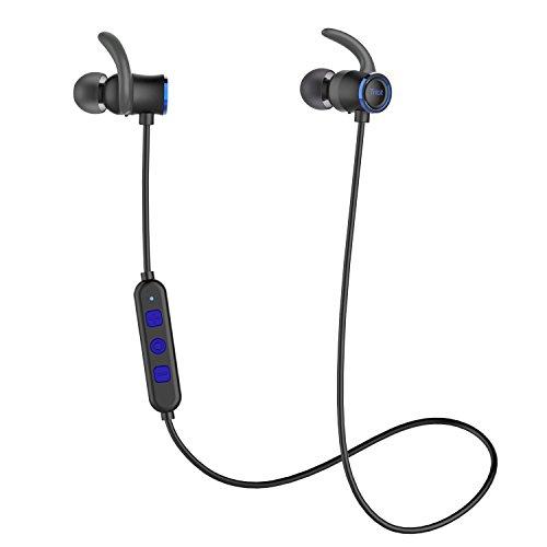 Tribit Bluetooth Écouteurs avec Micro Écouteurs sans Fil fonctionnant Casque Un Son cristallin, Nano Revêtement étanche, jusqu'à 10Heures de Lecture-Sports Casque avec Connexion magnétique, Bleu