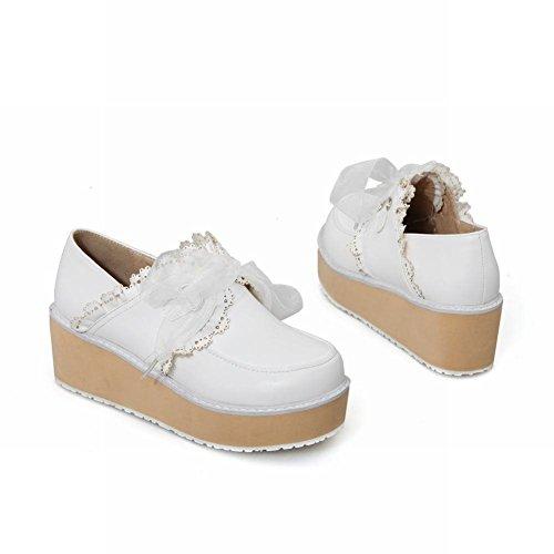 Mee Shoes Damen modern süß populär mit Spitzen Lace runder toe Geschlossen Durchgängiges Plateau Beige