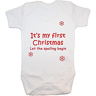 Acce Products It's My First Christmas Let The Spoiling Begin Baby Grow/Bodysuit/Romper/Vest/T-Shirt - 12-18 Months - White