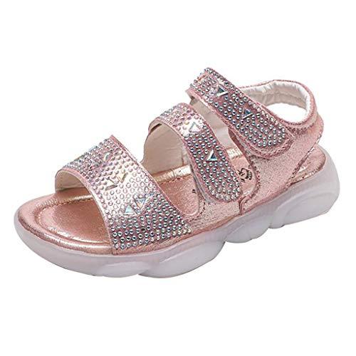dchen Infant Bequeme Sandalen Glitter Pailletten Rutschfeste Sommer Strand Schuhe Touch befestigen runde Zehe Slip-on Flache Sandalen für 1-6 Jahre alt ()