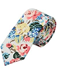 Skinny necktie - Pink, blue & yellow flowers & leaves on white Notch