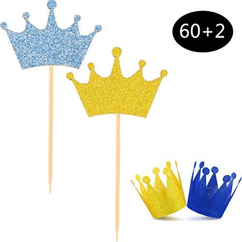 Chinco 60 Stücke Blau Gold Crown Picks Kuchen Topper, 2 Stücke Prinz Krone Dekoration für Geburtstag Baby Dusche Hochzeit