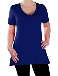 Eyecatch - Delphine V-Ausschnitt Damen Übergröße Oberteile Kurz Hülle Lässig Frauen Lang Abgefackelt T-Shirt Tunika