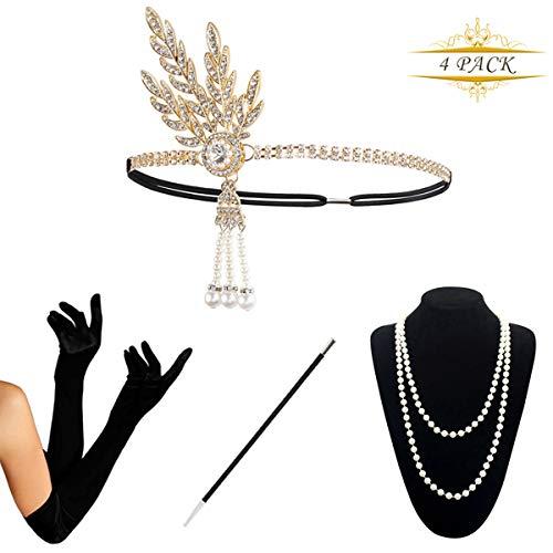 KQueenStar 1920s Damen Gatsby Kostüm Accessoires Set Halskette Handschuhe Zigarettenhalter 20er Jahre Stirnband Charleston Gatsby Retro Stil Kostüm ()