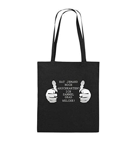 Comedy Bags - HAT JEMAND NOCH ARSCHKARTEN - Jutebeutel - lange Henkel - 38x42cm - Farbe: Schwarz / Silber Schwarz / Silber