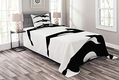 ABAKUHAUS Schwarz-Weiss Tagesdecke Set, Orca Killerwale, Set mit Kissenbezügen Sommerdecke, für Einselbetten 170 x 220 cm, Weiß und Schwarz -