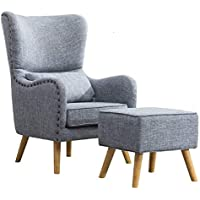 WarmieHomy Linen Fabric Armchair High Wing Back Tub Chair Lounge Recliner  Occasional Accent Chair With Footstool