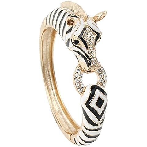 Ever Faith Cristallo smalto nero A12809-2 Gold-Tone Zebra cavallo cerniera Bracciale austriaca - Cerniera Vittoriana