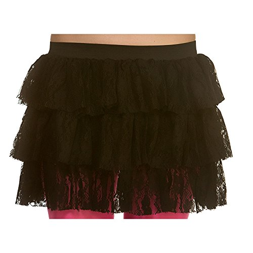 Adult Ladies 80's Black Lacey Ra-Ra Skirt Fancy Dress - up to size 12