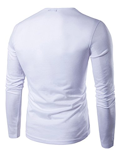 YCHENG Herren Klassisch Henley Langarm Shirt Oberteile Slim fit Frühling Weiß