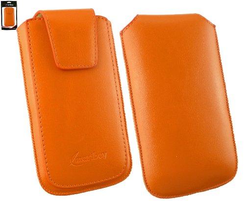 Emartbuy® Sleek Serie Arancione PU Cuoio di Lusso Custodia Case Cover Sleeve ( Misura 3XL ) con Chiusura Magnetica a Linguetta Adatta Per Mediacom PhonePad Duo B400