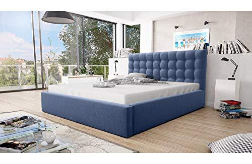 MG Home Betten Polsterbett Bettkasten Lattenroste Doppelbett Blau 4 Größen Loft (Amore 15 Cobalt, 160/200)