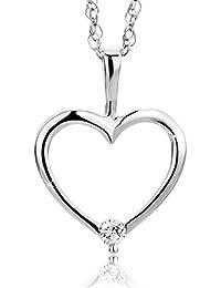 0c6ef2bf4723 Orovi colgante de señora corazón 0.02 Ct diamantes en oro blanco de 9k ley  375 Cadena