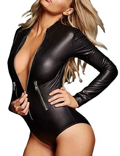 LRUD Mode Frauen Faux Pu-Leder Body Bluse Langarm Unterwäsche Stehkragen Outfit Bandage Oben Overalls Hemd,  3 Black, (Sex Outfit)